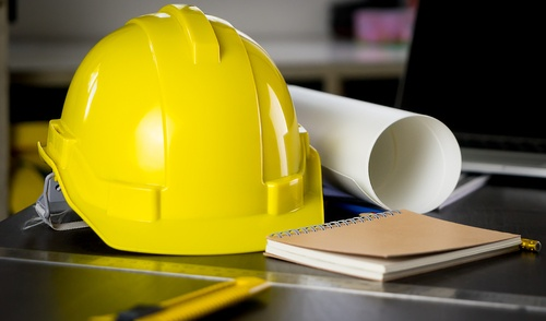 hard hat with notepad