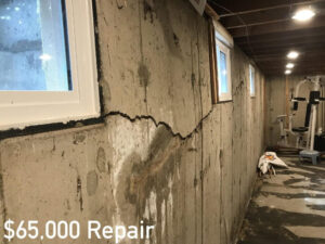 Mostly horizontal basement crack in foundation wall